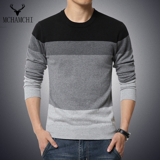 MCHAMACHI NEW Work Brand Casual Strip Sweater Men Long Sleeve Color Block Patchworksweater Slim Fit Size M-5XL Tops Tee O-Neck