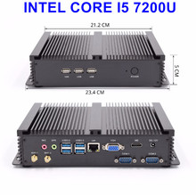 Промышленный безвентиляторный мини ПК Core i5 7200U i5 6200U i3 6006U 2* Lans 2* COM HTPC мини ПК Windows 10 Linux маленький компьютер 7* USB