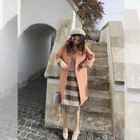 Mishow 2018 otoño e invierno abrigo de lana para mujer medio largo nuevo temperamento coreano popular abrigo de lana para mujer MX18D9671