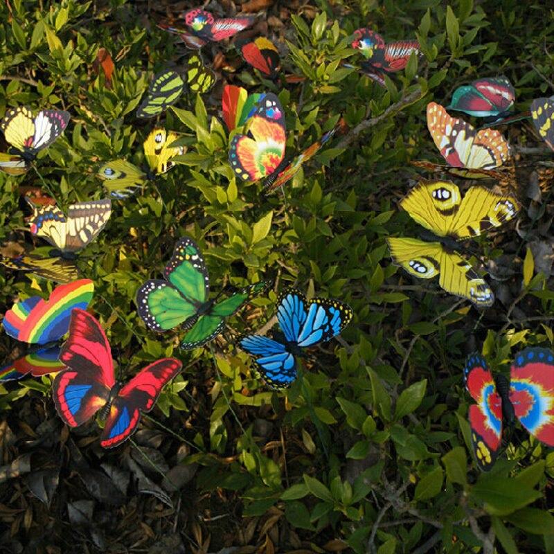10X Plastic Butterfly On A Stick For Home Garden Plant Vase Pot Flower B0K8