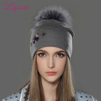 LILIYABAIHE Women Winter Hat Wool Knitted Beanies Cap Real Raccoon Fur Pom Pom Hats Classic Color