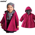 WEONEDREAM New Fashion Kids Children Clothing Baby Girls Princess Double Breasted Hooded Woolen Overcoat Trench Girls Dress Coat