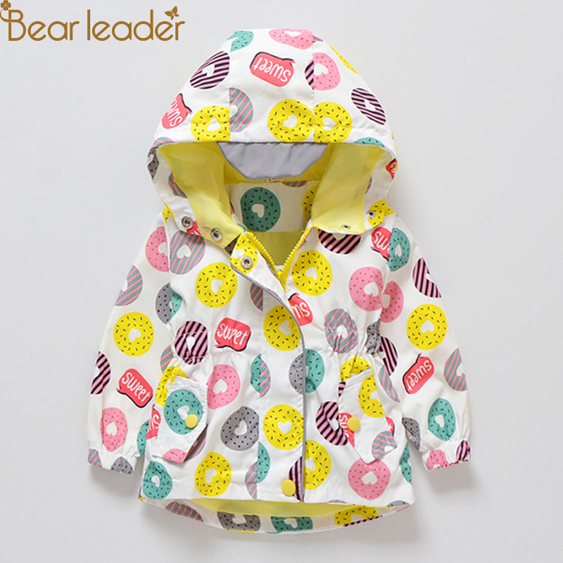 Bear Leader Kids Coats 2018 New Autumn Fashion Cartoon Donut Coats Full Sleeve Hooded Unisex Coats For 2T 3T 4T 5T