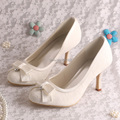 Wedopus MW902 Off white Lace High Heel Shoe Thick Heels Bridal Small Pumps
