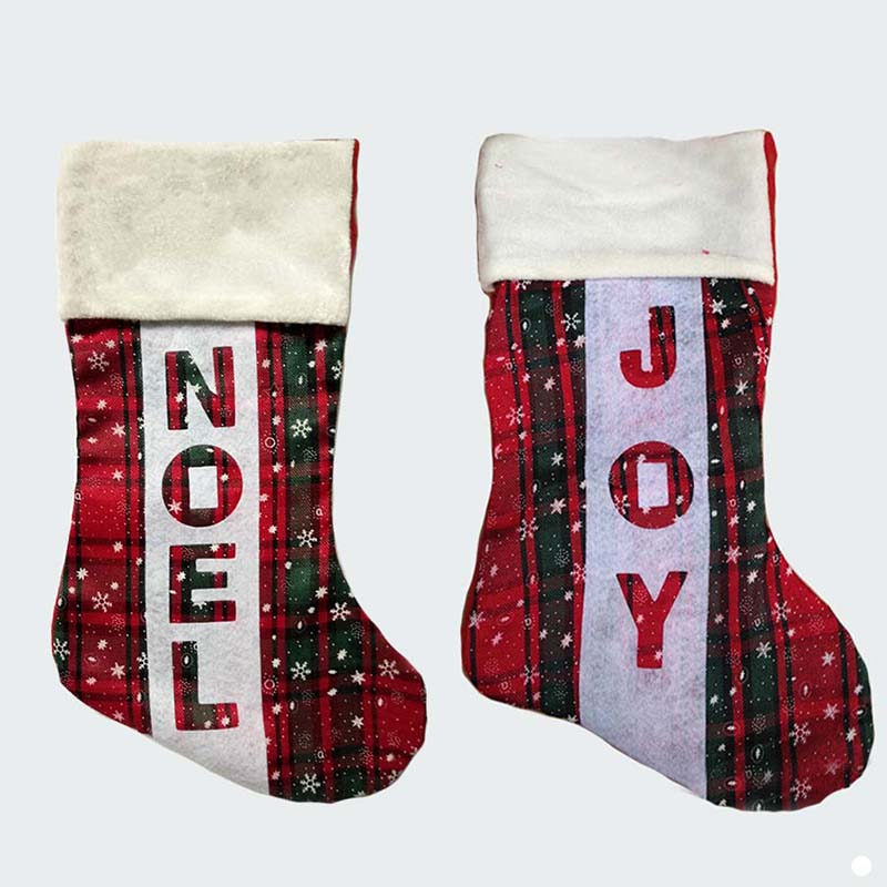 40cm157 inch felt stain large christmas stockings with noel joy letter kid xmas stocking children candy bags in stockings gift holders from home - Large Christmas Stocking
