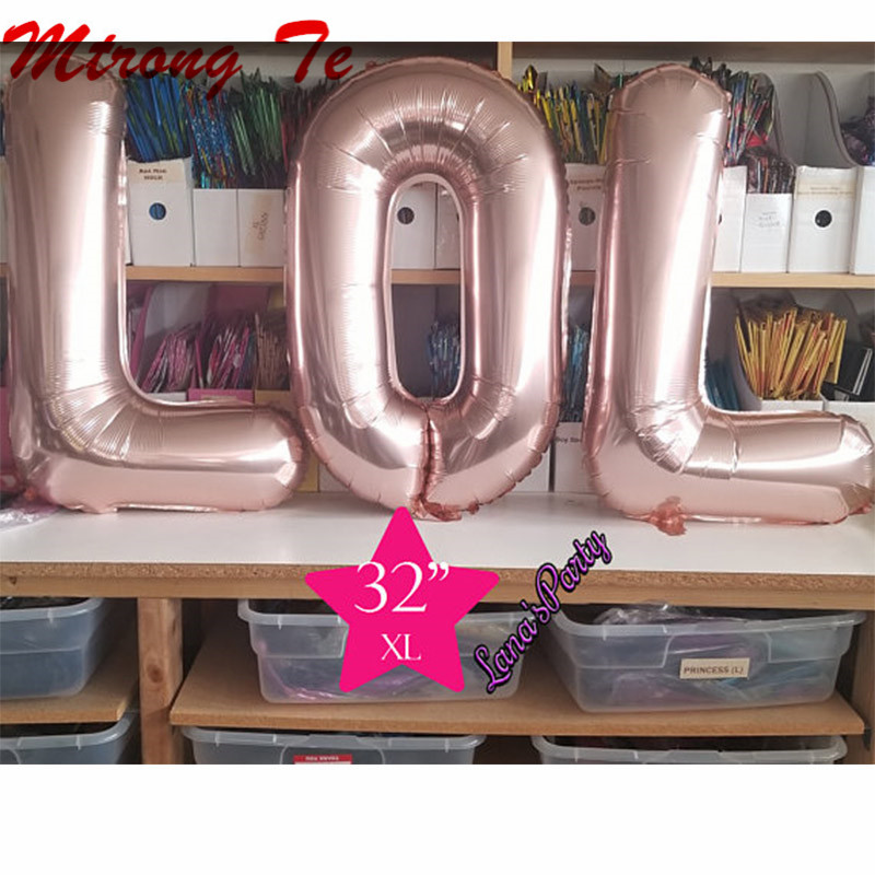 """16"""" 32 """" Gold Rose Gold Silver LOL Letter Alphabet Balloon Baby Shower Gift Toys Air Fill Balloons Birthday Party Decorations"""