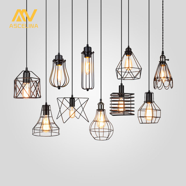 ASCELINA Lampshade Pendant Light Lamp shade Loft DIY Metal Cage Bulb Guard Clamp Wrought Iron Wall lamp Home Decoration lighting