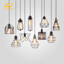 Lampshade Pendant Light Lamp shade Loft DIY Metal Cage Bulb Guard Clamp Wrought Iron Wall lamp Home Decoration lighting(China)