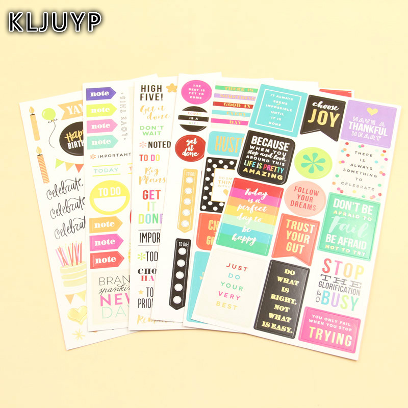 KLJUYP 6sheets Happy Birthday Self- adhesive Paper Sticker for Scrapbooking Happy Planner/Card Making/Journaling ProjectKLJUYP 6sheets Happy Birthday Self- adhesive Paper Sticker for Scrapbooking Happy Planner/Card Making/Journaling Project