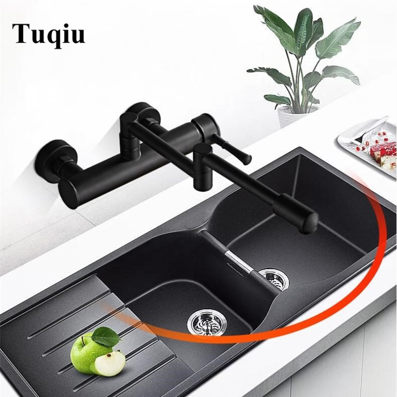 Kitchen Faucet Wall Mounted Single Handle ORB Finish Brass Kitchen Tap Bathroom Sink Faucet Kitchen Foldable