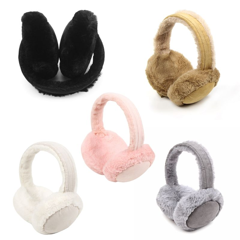 Women Winter Thicken Plush Earmuffs Sweet Solid Candy Color Earflap Foldable Travel Portable Ear Cover Warmer Headband