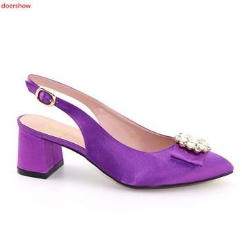 doershow Wonderful purple rhinestone women sandals with big crystal design african black low heel shoes for dress HFF1-18
