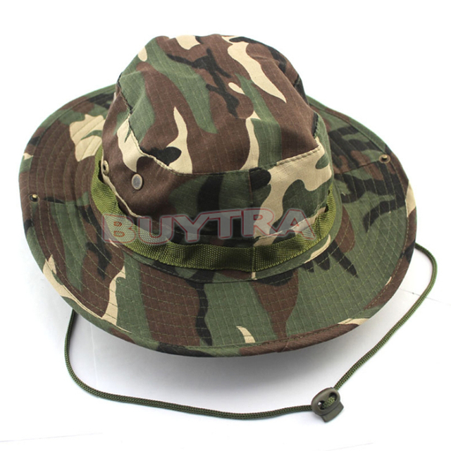 6b19842492a8f 1Pcs Camo Bucket Hat Outdoor Military Camping Hiking Cover Wide Brim  Sombrero Army Camouflage Sunshade Hats