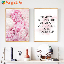 Pink Peony Flower Art Wall Pictures Canvas Painting Decor Quotes Nordic Posters Decorative Picture Unframed