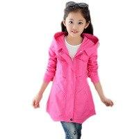 Crianças jaqueta de 2017 novo bebê vestir menina do outono com capuz crianças menina outerwear doce cor casacos elegantes para as meninas 5-11 T
