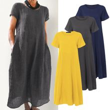 Tunic Sundress Mid-Calf-Dress Linen Kaftan Short-Sleeve Party-Robe Pleated Vestidos Casual