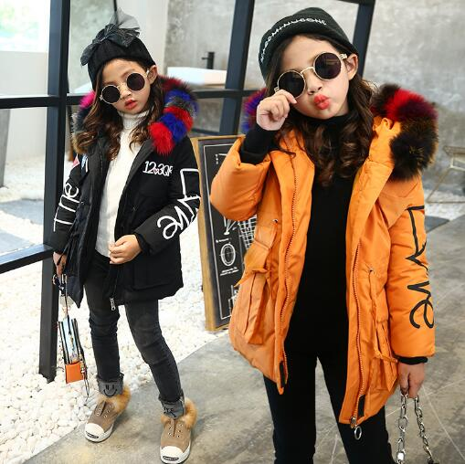 Children Parkas Coat For Girl Winter Clothes Fashion Hooded Big Fur Collar Wadded Jacket Outerwear & Coats 3-12 Years autumn winter women national trend wool collar wadded jacket