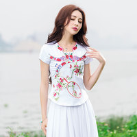 Ethnic Shirt Women Pullover Ethnic Brand Mandarin Collar Blue White Black Embroidery Cotton t-shirt Traditional Chinese Clothing