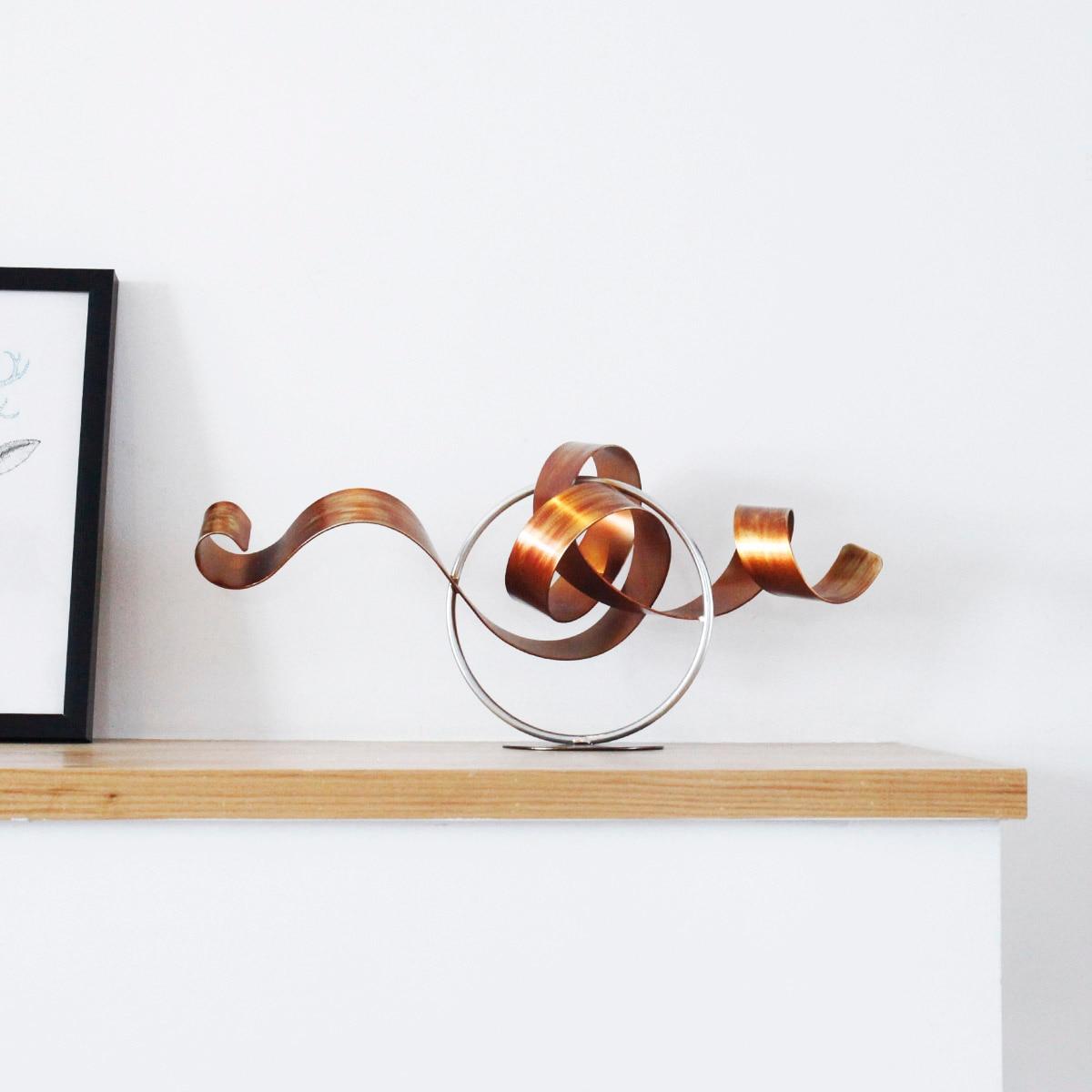 À la mode fer tortillant moderne Sculpture abstraite Sculpture œuvre métal Sculpture fer décoration de la maison intérieur extérieur décor-in Statues et sculptures from Maison & Animalerie    1