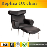 U BEST Modern Solid Stainless Steel Frame Replica OX lounge chair by leather upholstery,Replica Design Lounge