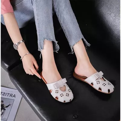 Sandals and slippers female 2018 models wild without heel wear baotou half trawl net red slippers 4