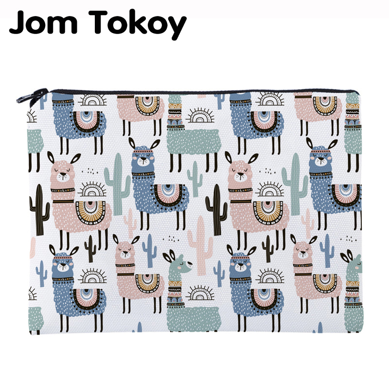 Jom Tokoy Printing Alpacas Necessaries For Travelling Organizer Makeup Bag Women Square Cosmetic Bag With Zipper