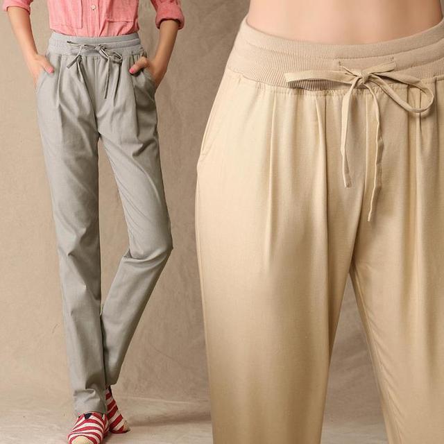 Primavera verão mulheres calças de linho cintura elástica harem pants calças femininas plus size calças xxxl feminino