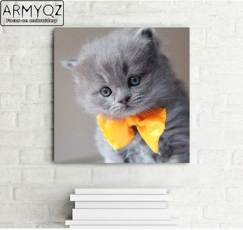 ARMYQZ Diamond Paintings Stitch Diamond Embroidery DecorBlue Cat AnimalsSticker Mosaic Picture Decoration The Black Friday