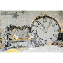 Relógio estrelas decorações de natal sala pano de Fundo de Vinil de Alta qualidade de impressão Computador pano de fundo da foto da parede