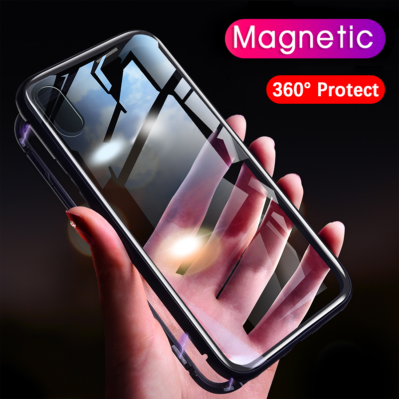 Magneto Magnetic Adsorption case for iphone 7 luxury aluminum metal bumper with tempered glass cover for iphone x 6 6s 7 8 plus