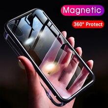 Магнето Магнитная адсорбции чехол для iphone xs max xr Роскошный металлический бампер магнит стеклянная крышка для iphone X 7 6s 6 8 плюс Чехол