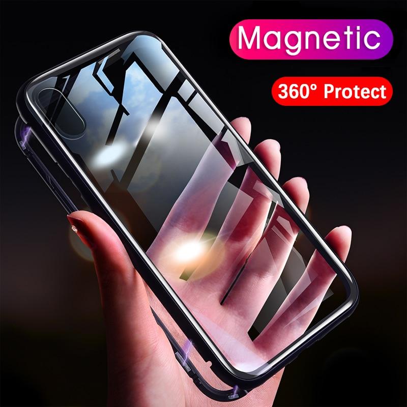 Magneto adsorción magnética para iphone 7 parachoques de lujo del metal imán cubierta de vidrio templado para iphone 6x6 S 7 8 más caso