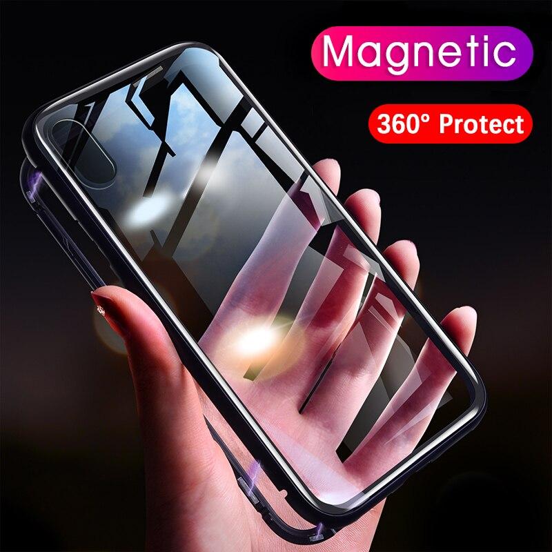 Magneto de Adsorção Magnética caso para iphone xs max xr Luxo ímã tampa de vidro do metal no vidro traseiro para o iphone X 7 6 s 6 8 mais caso