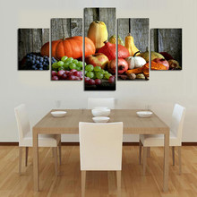 Free shipping Canvas Painting Print Fruits And Vegetables Picture Wall Art Poster For Living Room Home Decoration 5 Pieces/Set(China)