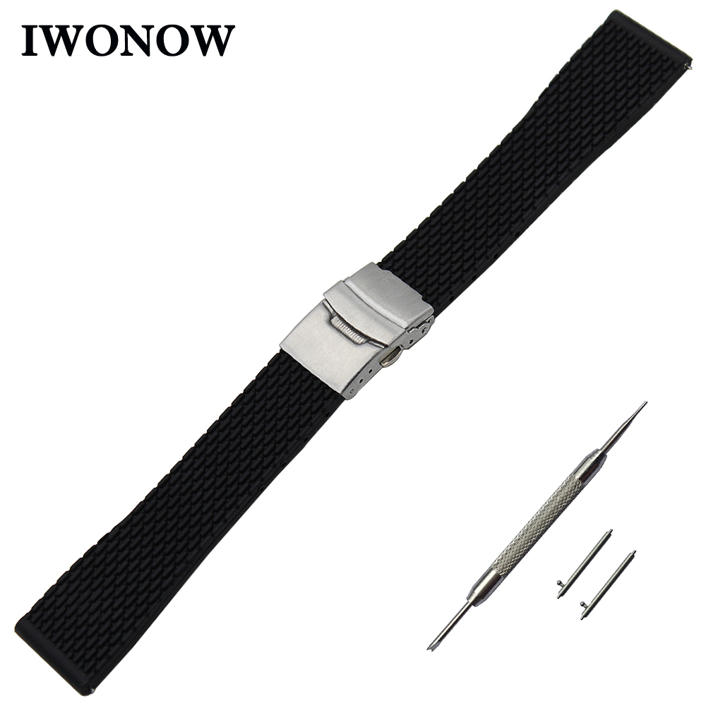 Silicone Rubber Watch Band 20mm 22mm 24mm for Diesel Stainless Steel Safety Buckle Strap Wrist Belt Bracelet Black + Spring Bar silicone rubber watch band 20mm 22mm 24mm for jacques lemans stainless steel pin clasp strap wrist loop belt bracelet tool