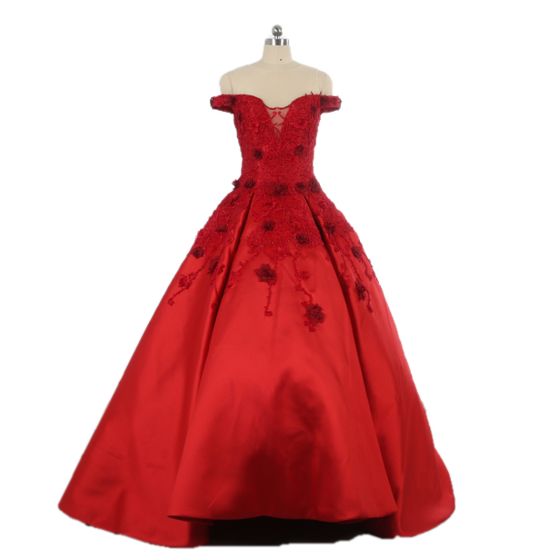 Luxury heavy beaded new arrival strapless with embroidery beading flowers red evening dress off the shoulder