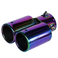 Universal Car Vehicle Exhaust Muffler Steel Tail Pipe:Straight Double Tube(Multicolor)