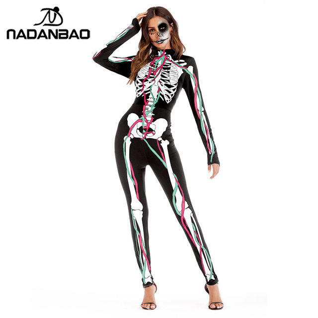 816eedab536 NADANBAO Mechanical Bone Cosplay Costume Catsuit Scary Skull Bodysuit Skeleton  Jumpsuit Halloween Costumes For Women