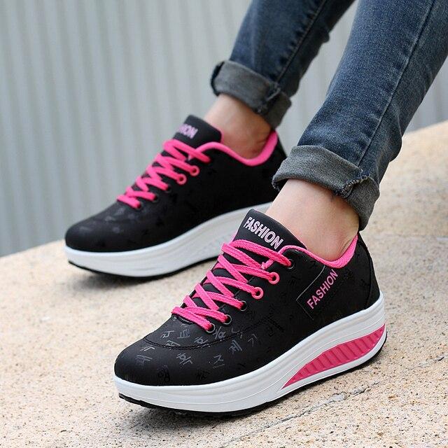 2a12e0885dd78 أحذية النساء 2019 أحدث النساء أحذية رياضية الأزياء أحذية رياضية تنفس إسفين  منصة احذية الجري النساء