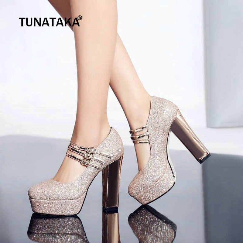 0e883e72f805 Women High Heels Platform Pumps Mary Jane Shoes Ladies Wedding Block Heel  Shoes Fashion Buckle Party