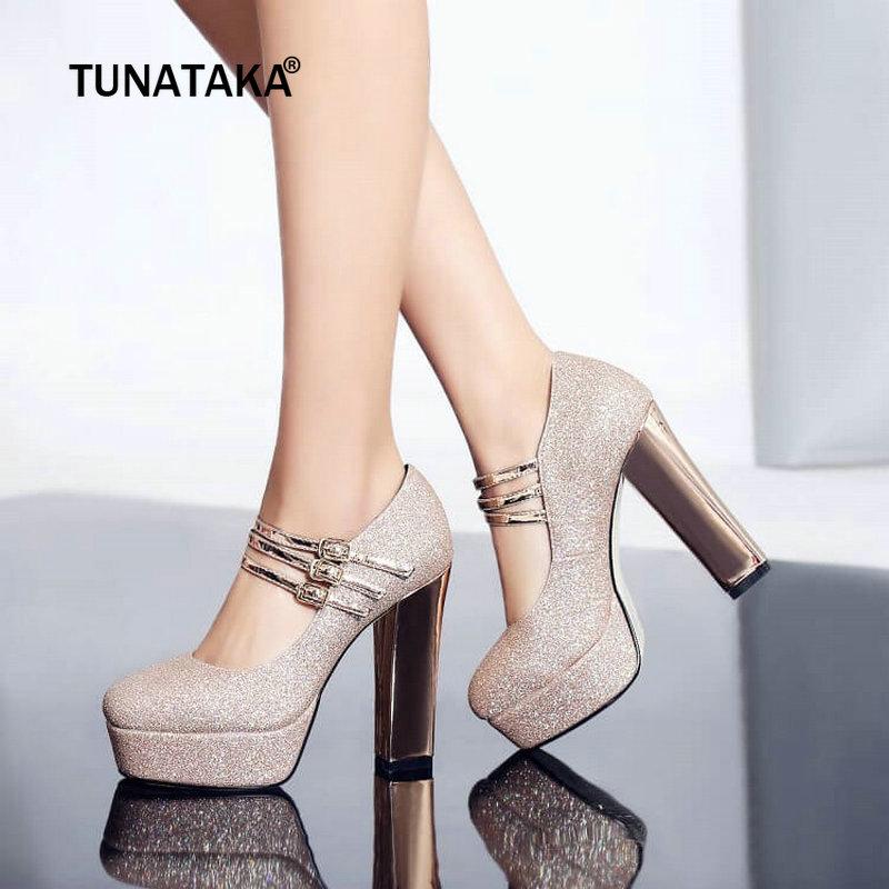 Women High Quality Mary Jane Pumps Platform Square High Heels Fashion Buckle Party <font><b>Shoes</b></font> Woman Gold <font><b>Silver</b></font>