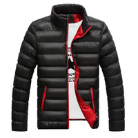 Winter Men's Cotton Jackets And Coats Thicken Polyester Solid Casual Zipper Outware Clothes Standing Pocket Mountainskin M 4XL