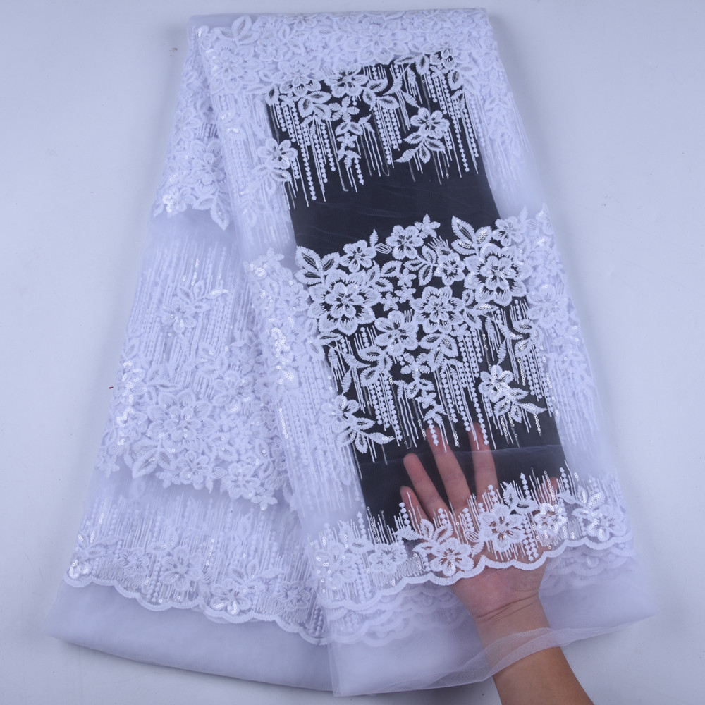 Latest African Laces 2019 High Quality Lace Nigerian French Lace Fabric For Wedding White Sequin Lace
