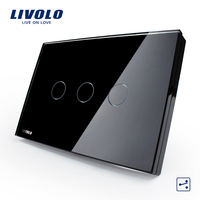 Livolo US/AU Standard Wall Switch, Black Crystal Glass Panel,3 gang 2 way Touch Control Light Switch VL C303S 82 for Smart Home