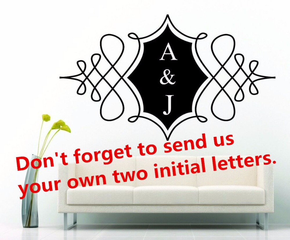 Personalized wall floor logo vinyl wall sticker removable wedding customized initial letter name wall decals home decor ay435