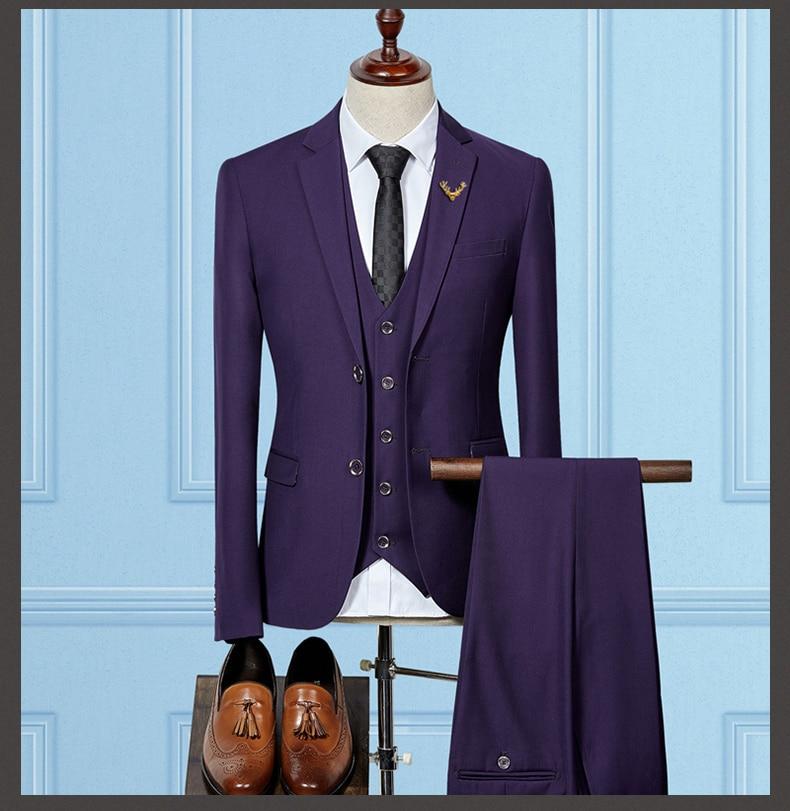 Púrpura hombre traje 2018 estilo 3 unidades traje slim fit prom ...