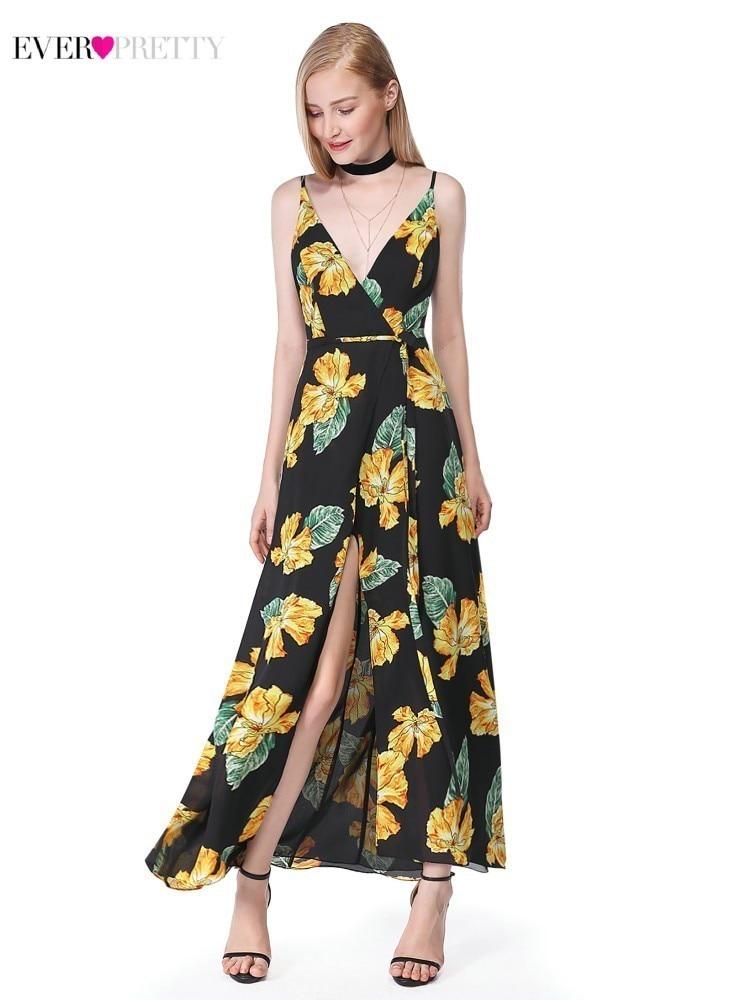 Floral Print Black Bridesmaid Dresses Long Ever Pretty A-Line V-Neck Sleeveless Wedding Guest Dresses Sukienki Na Wesele 2020