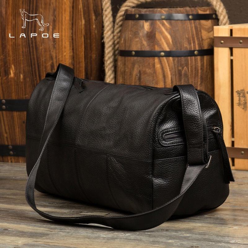 2018 New Men Travel Duffle Bag Genuine Leather Men's Travel Bags Black Shoulder Handbag Round Bucket Shape Messenger Bag Tote