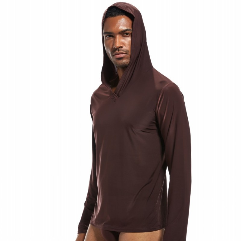 Men's pyjamas sleepwear men sleep shirt silky hooded underwear men camiseta hombre ropa gay nightshirt men bielizna nocna(China)