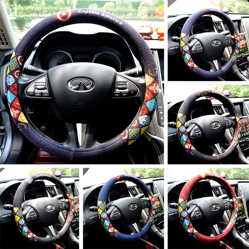 Cartoon Car Steering Wheel Cover Linen Flax Auto Steering-Wheel Case Universal Size Four Season For VW Cruze BMW Buick Honda
